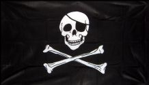 SKULL & CROSSBONES PIRATE NYLON DELUXE QUALITY - 5 X 3 FLAG